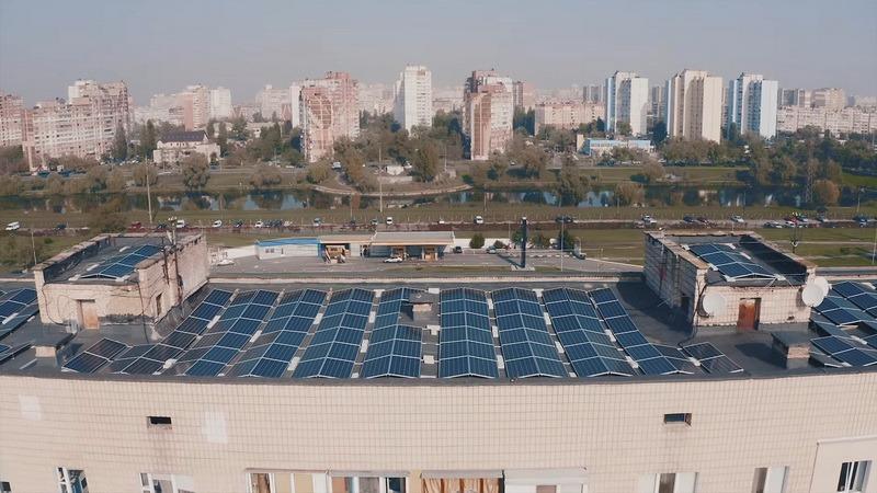 Солнечная электростанция на крыше в Киеве